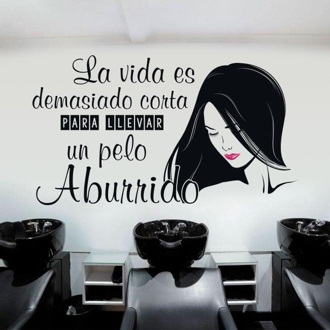 Vinyle coiffeurs silhouette et phrase décorer les murs