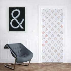 Vinyle pour portes et armoires carrées retro pop