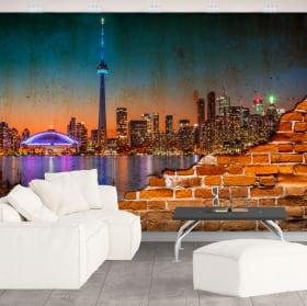 Murales du canada ville de nuit effet de mur brisé