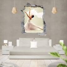 Vinyle silhouette femme ballet trou de mur 3d