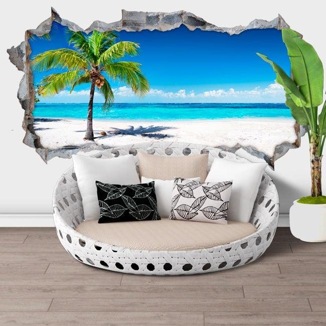 Stickers muraux 3d palmier plage panoramique