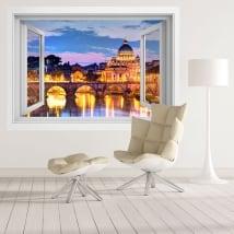 Vinyle des fenêtres rivière tibre et vatican italie 3d