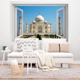 Vinyle décoratif fenêtre taj mahal 3d