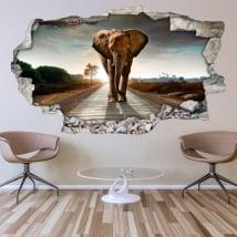Vinyle décoratif pour les murs éléphant 3d
