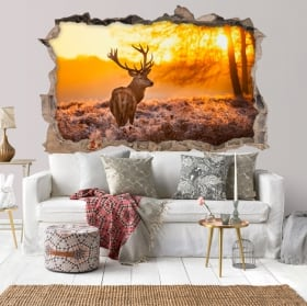 Vinyle mur de trou coucher de soleil lac et montagnes 3d
