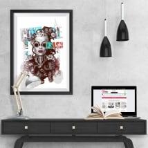 Vinyle silhouette de femme image effet 3d