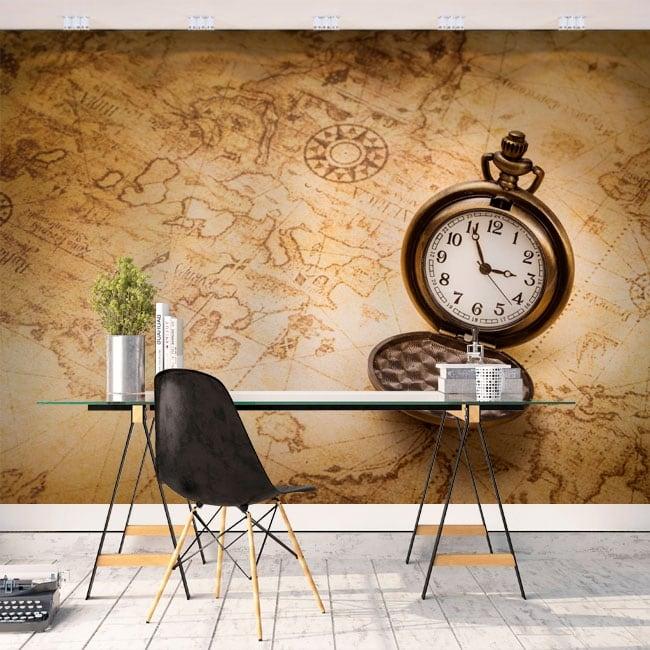 Murales de vinyle vintage cartographier et regarder