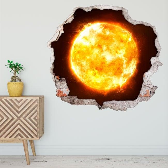 Vinyle décoratif soleil trou de mur 3d