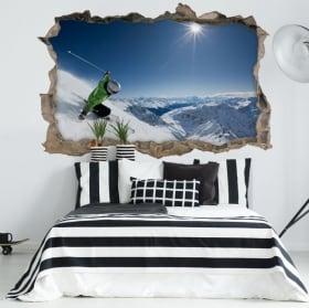 Vinyle 3d le ski et crépuscule les montagnes