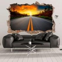 Vinyle décoratif 3d coucher de soleil sur la route