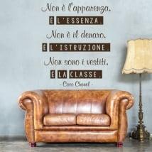 Vinyle adhésif coco chanel phrase italienne