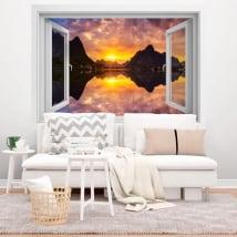 Vinyle des fenêtres coucher de soleil dans le fjord norvégien 3d