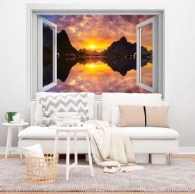 Vinyle des fenêtres coucher de soleil en alaska 3d