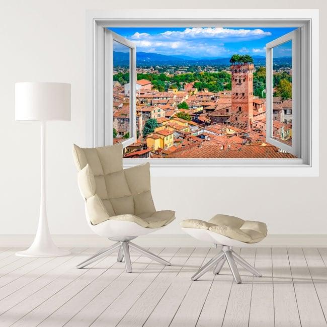 Vinyle tour guinigi ville de lucca toscane italie 3d