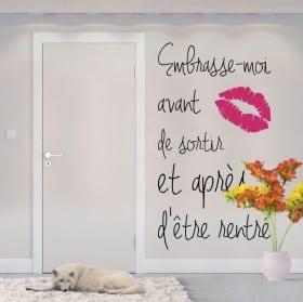 Vinyle phrases françaises embrasse moi avant de sortir