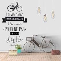 Vinyle phrase en français la vie est comme une bicyclette