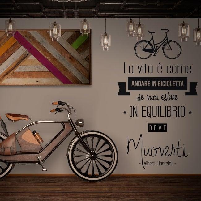 Autocollants phrases italiennes la vie est comme une bicyclette