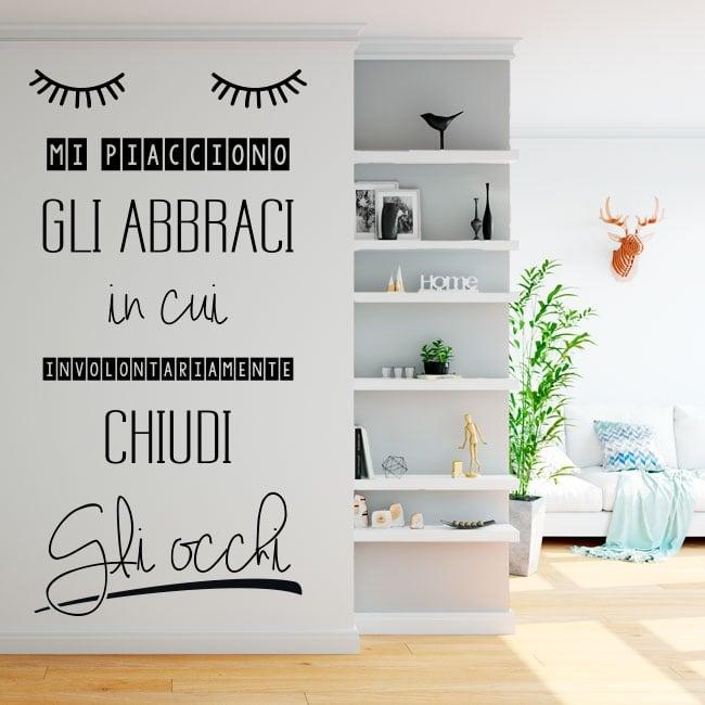 Vinyle les murs phrases italiennes j'aime les câlins