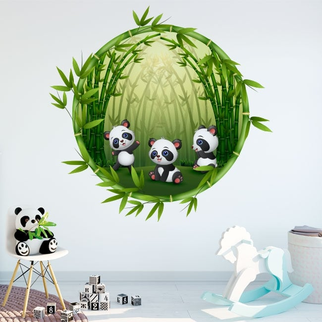 Vinyle chambres d'enfants ours pandas