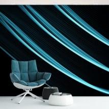 Papier peint vinyle murs et objets traits bleus