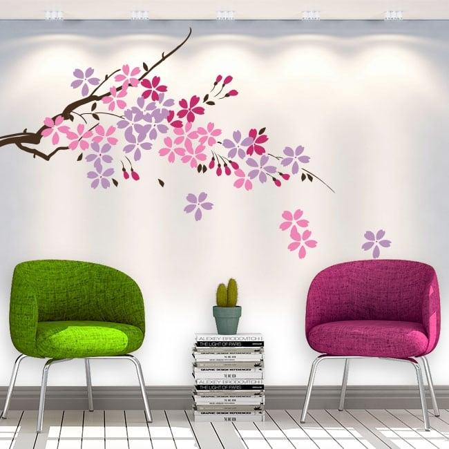 Vinyle décoratif branche d'arbre avec des fleurs et des feuilles