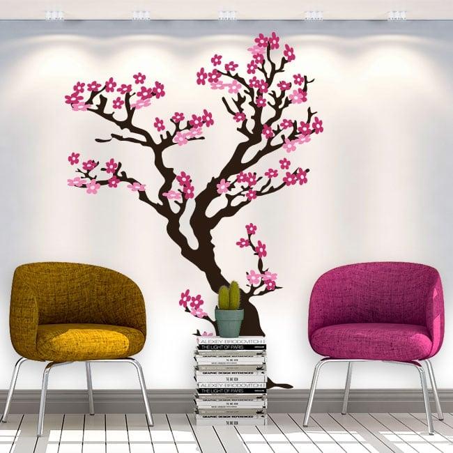 Autocollants et vinyls décoratifs arbre avec des fleurs