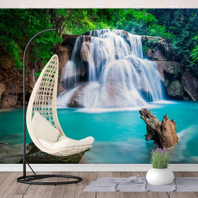 Peintures murales chutes d'eau huay mae kamin thailande