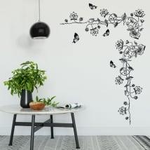 Vinyle décoratif fleurs et papillons
