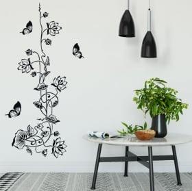 Vinyle et des autocollants fleurs avec des papillons