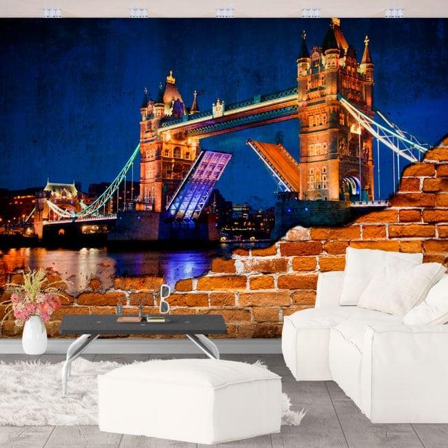 Peintures murales vinyle mur brisé london tower bridge