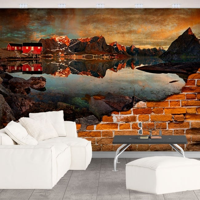 Peintures murales reine norvège effet de mur brisé