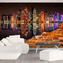 Peintures murales de vinyle ville de doha au qatar effet de paroi cassé