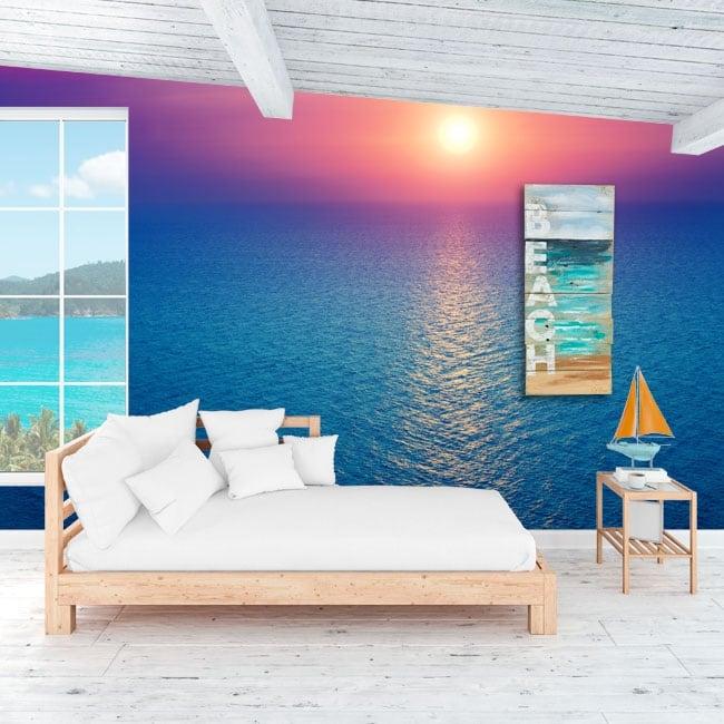 Peintures murales de vinyle coucher de soleil dans l'océan