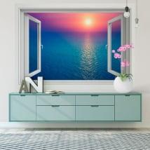 Vinyle les murs coucher de soleil dans l'océan 3d