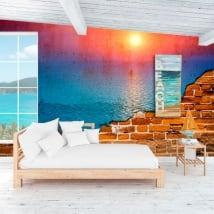Murales coucher de soleil dans l'océan effet de mur brisé