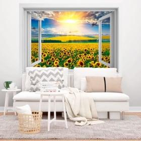 Vinyle des fenêtres crépuscule champ de tournesols 3d