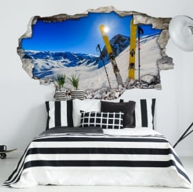 Stickers muraux coucher de soleil dans les montagnes enneigées 3d