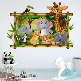Vinyle chambres d'enfants animaux de zoo