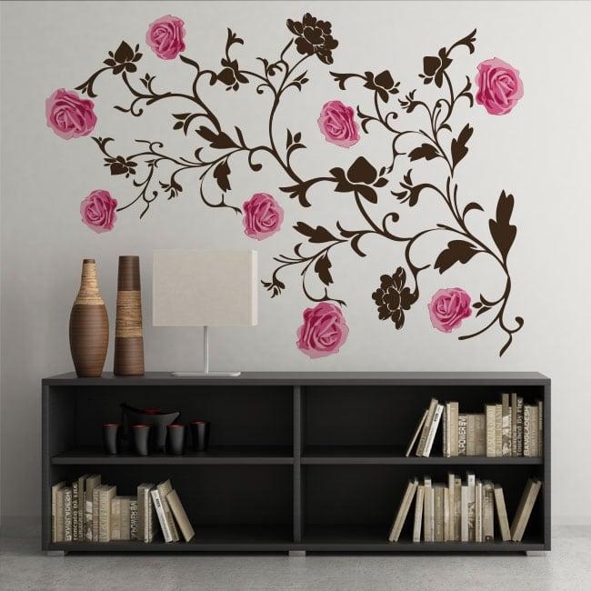 Vinyle décoration de roses murs et objets
