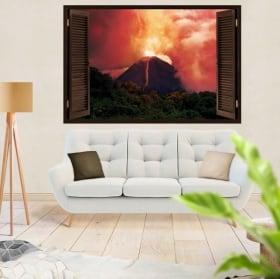Vinyle et autocollants de fenêtre 3d éruption du volcan