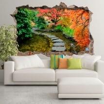 Stickers muraux jardin japonais trou de mur 3d