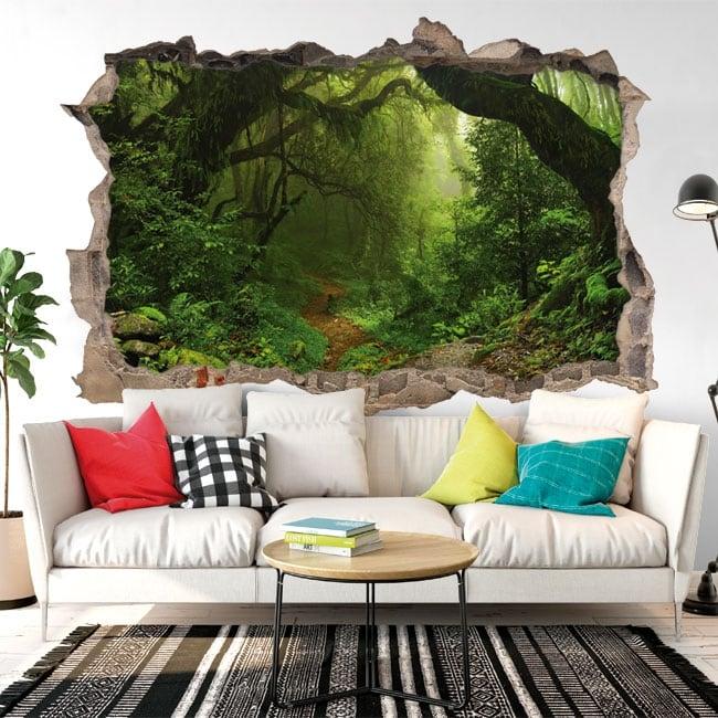 Vinyle adhésif arbres dans la forêt 3d