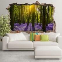 Vinyles 3d jacinthes fleurs dans la forêt