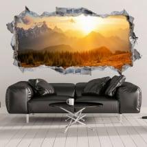 Vinyle décoratif 3d coucher de soleil dans les montagnes