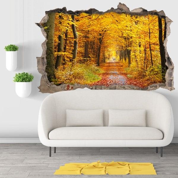 Vinyle décoratif 3d arbres en automne