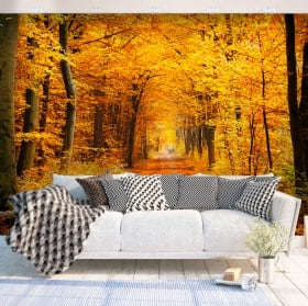 Mural en vinyle arbres en automne