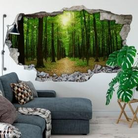 Vinyle arbres dans la forêt paroi du trou 3d