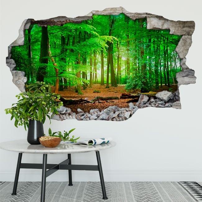 Vinyle les murs arbres dans la forêt 3d