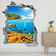 Autocollants décoratifs 3d plongée en mer
