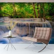 Peintures murales de vinyle cascades dans la forêt